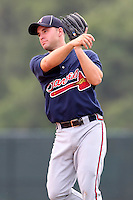 GCL Braves second baseman Nick Popescu #40 during a game against the GCL Pirates at Disney Wide World of Sports on June 25, 2011 in Kissimmee, Florida.  The Pirates defeated the Braves 5-4 in ten innings.  (Mike Janes/Four Seam Images)