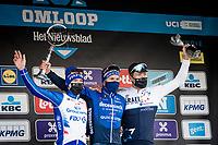 Davide Ballerini (ITA/Deceuninck - QuickStep) wins the 76th Omloop Het Nieuwsblad 2021<br /> <br /> Jake Stewart (GBR/Groupama - FDJ) finished 2nd and Sep Vanmarcke (BEL/Israel Start-Up Nation) 3rd<br /> <br /> ME(1.UWT)<br /> 1 day race from Ghent to Ninove (BEL): 200km<br /> <br /> ©kramon