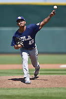 Fabian Williamson (45) of the New Orleans Zephyrs throws a pitch against the Iowa Cubs at Principal Park on April 23, 2015 in Des Moines, Iowa.  The Zephyrs won 9-2.  (Dennis Hubbard/Four Seam Images)