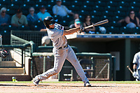 Peoria Javelinas third baseman Hudson Potts (13), of the San Diego Padres organization, follows through on his swing during an Arizona Fall League game against the Surprise Saguaros at Surprise Stadium on October 17, 2018 in Surprise, Arizona. (Zachary Lucy/Four Seam Images)