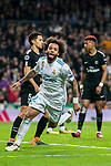 Marcelo Vieira Da Silva of Real Madrid celebrates during the UEFA Champions League 2017-18 Round of 16 (1st leg) match between Real Madrid vs Paris Saint Germain at Estadio Santiago Bernabeu on February 14 2018 in Madrid, Spain. Photo by Diego Souto / Power Sport Images