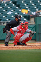 Umpire Robert Moreno and Syracuse Chiefs catcher Pedro Severino (29) during a game against the Buffalo Bisons on May 18, 2017 at Coca-Cola Field in Buffalo, New York.  Buffalo defeated Syracuse 4-3.  (Mike Janes/Four Seam Images)