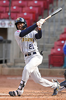 Burlington Bees center fielder Spencer Griffin (21) swings at a pitch against the Cedar Rapids Kernels at Veterans Memorial Stadium on April 14, 2019 in Cedar Rapids, Iowa.  The Bees won 6-2.  (Dennis Hubbard/Four Seam Images)