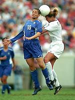 Sissi, left, Brazil, vs Brandi Chastain, right, 1999 World Cup.