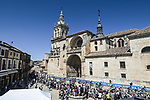 Riders head to sign on before Stage 4 of La Vuelta d'Espana 2021, running 163.9km from Burgo de Osma to Molina de Aragon, Spain. 17th August 2021.    <br /> Picture: Unipublic/Charly Lopez | Cyclefile<br /> <br /> All photos usage must carry mandatory copyright credit (© Cyclefile | Charly Lopez/Unipublic)
