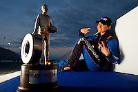 Sept. 18, 2011; Concord, NC, USA: NHRA pro mod driver Leah Pruett poses for a portrait after winning the O'Reilly Auto Parts Nationals at zMax Dragway. Mandatory Credit: Mark J. Rebilas-