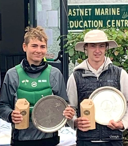 Rocco Wrght and crew Nathan van Steenberge with their prizes at Schull.