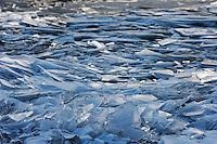 Ice piles up on ice along the shores of Lake Suwa, Nagano, Japan.