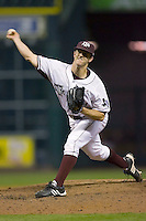 Relief pitcher Kyle Thebeau #11 of the Texas A&M Aggies in action versus the Houston Cougars in the 2009 Houston College Classic at Minute Maid Park March 1, 2009 in Houston, TX.  The Aggies defeated the Cougars 5-3. (Photo by Brian Westerholt / Four Seam Images)