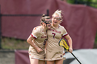 NEWTON, MA - MAY 22: Charlotte North #8 of Boston College celebrates her goal with teammate during NCAA Division I Women's Lacrosse Tournament quarterfinal round game between Notre Dame and Boston College at Newton Campus Lacrosse Field on May 22, 2021 in Newton, Massachusetts.
