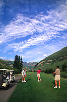 Summer time in Vail Colorado golfing with mountain