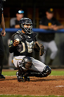 Bristol Pirates catcher Gabriel Brito (52) during the second game of a doubleheader against the Bluefield Blue Jays on July 25, 2018 at Bowen Field in Bluefield, Virginia.  Bristol defeated Bluefield 5-2.  (Mike Janes/Four Seam Images)