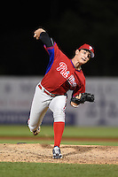 Ronnie Rossomando (33) of Bunnell High School in Stratford, Connecticut playing for the Philadelphia Phillies scout team during the East Coast Pro Showcase on July 31, 2014 at NBT Bank Stadium in Syracuse, New York.  (Mike Janes/Four Seam Images)