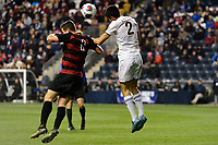 Chester, PA - Friday December 08, 2017: Foster Langsdorf, Joao Moutinho The Stanford Cardinal defeated the Akron Zips 2-0 during an NCAA Men's College Cup semifinal match at Talen Energy Stadium.