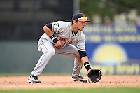 Connecticut Tigers third baseman Steven Fuentes (24) during the first game of a doubleheader against the Batavia Muckdogs on July 20, 2014 at Dwyer Stadium in Batavia, New York.  Connecticut defeated Batavia 5-3.  (Mike Janes/Four Seam Images)