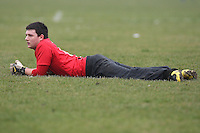The Old George 2nd XI goalkeeper takes a break during a Hackney & Leyton Sunday League match at Hackney Marshes - 01/03/09 - MANDATORY CREDIT: Gavin Ellis/TGSPHOTO - Self billing applies where appropriate - Tel: 0845 094 6026