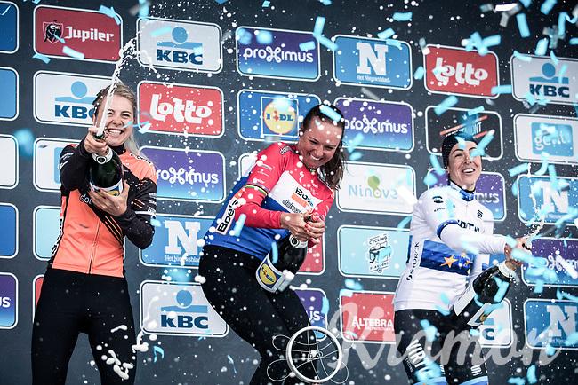 Women's Elite Podium:<br /> <br /> 1. Chantal Blaak (NED/Boels Dolmans CT)<br /> 2. Marta Bastianelli (ITA/Team Virtu Cycling)<br /> 3. Jip Van den Bos (NED/Boels Dolmans)<br /> <br /> <br /> Omloop Het NIeuwsblad 2019<br /> Women Elite Race.