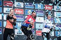 Women's Elite Podium:<br /> <br /> 1. Chantal Blaak (NED/Boels Dolmans CT)<br /> 2. Marta Bastianelli (ITA/Team Virtu Cycling)<br /> 3. Jip Van den Bos (NED/Boels Dolmans)<br /> <br /> <br /> Omloop Het NIeuwsblad 2019<br /> Women Elite Race.
