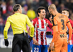 Nicolas Gaitan of Atletico de Madrid argues with Alejandro Galvez Jimena of SD Eibar during their Copa del Rey 2016-17 Quarter-final match between Atletico de Madrid and SD Eibar at the Vicente Calderón Stadium on 19 January 2017 in Madrid, Spain. Photo by Diego Gonzalez Souto / Power Sport Images