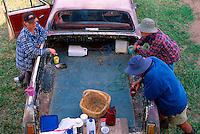 Smoko Break 2 (clockwise from left), Wendy Richardson, Cameron Richardson, Daniel Cairns and Victorio Pellizzer, Pellizer's Farm, Dimbulah, 2003.