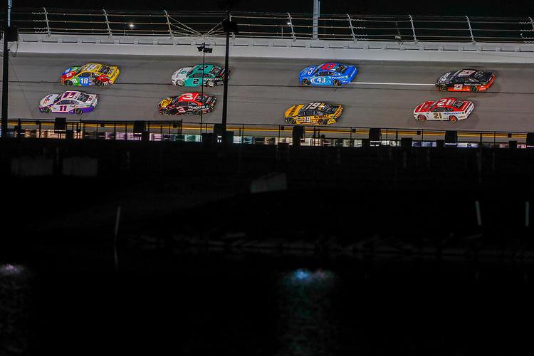 #11: Denny Hamlin, Joe Gibbs Racing, Toyota Camry FedEx Express, #18: Kyle Busch, Joe Gibbs Racing, Toyota Camry M&M's, #19: Martin Truex Jr., Joe Gibbs Racing, Toyota Camry DeWalt, #23: Ty Dillon, 23XI Racing, Toyota Camry Root Insurance