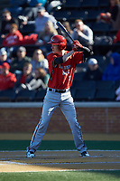 Eric Jones (3) of the Gardner-Webb Runnin' Bulldogs at bat against the Wake Forest Demon Deacons at David F. Couch Ballpark on February 18, 2018 in  Winston-Salem, North Carolina. The Demon Deacons defeated the Runnin' Bulldogs 8-4 in game one of a double-header.  (Brian Westerholt/Four Seam Images)