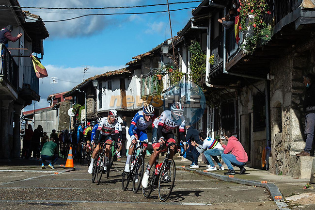 The breakaway group led by UAE Team Emirates pass through La Alberca during Stage 17 of the Vuelta Espana 2020, running 178.2km from Sequeros to Alto de la Covatilla, Spain. 7th November 2020.  <br /> Picture: Unipublic/Charly Lopez | Cyclefile<br /> <br /> All photos usage must carry mandatory copyright credit (© Cyclefile | Unipublic/Charly Lopez)