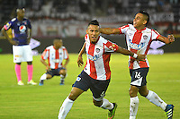 BARRANQUILLA  -COLOMBIA, 09-07-2016. James Sánchez  jugador del Junior celebra su gol contra el Medellín    durante encuentro  por la fecha 2 de la Liga Aguila II 2016 disputado en el estadio Metroplitano Roberto Meléndez ./James Sanchez  player of Junior  celebrates his goal against  Medellín   during match for the date 2 of the Aguila League II 2016 played at Metroplitano Roberto Melendez stadium . Photo:VizzorImage / Alfonso Cervantes  / Contribuidor