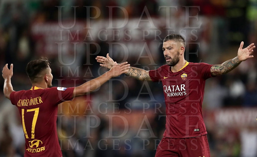 Football, Serie A: AS Roma - Frosinone, Olympic stadium, Rome, 26 September 2018. <br /> Roma's Aleksandar Kolarov (r) celebrates after scoring with his teammate Cengiz Under (l) during the Italian Serie A football match between AS Roma and Frosinone at Olympic stadium in Rome, on September 26, 2018.<br /> UPDATE IMAGES PRESS/Isabella Bonotto