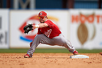Florida Southern Moccasins second baseman Shawn Sanders (6) stretches for a throw during an exhibition game against the Detroit Tigers on February 29, 2016 at Joker Marchant Stadium in Lakeland, Florida.  Detroit defeated Florida Southern 7-2.  (Mike Janes/Four Seam Images)