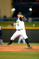 Dayton Dragons pitcher Tony Amezcua #14 during a game against the Bowling Green Hot Rods on April 20, 2013 at Fifth Third Field in Dayton, Ohio.  Dayton defeated Bowling Green 6-3.  (Mike Janes/Four Seam Images)