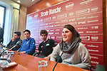 The press conference on the eve of the Strade Bianche and the Strade Bianche Women Elite featured Cyclocross World Champion Wout Van Aert (BEL), Road World Champion Peter Sagan (SVK) and last year's winners Michal Kwiatkowski (POL) and Elisa Longo Borghini (ITA) held in Palazzo Sansedoni in Piazza del Campo, Siena, Italy. 2nd March 2018.<br /> Picture: LaPresse/Massimo Paolone | Cyclefile<br /> <br /> <br /> All photos usage must carry mandatory copyright credit (© Cyclefile | LaPresse/Massimo Paolone)