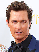 LOS ANGELES, CA, USA - AUGUST 25: Actor Matthew McConaughey arrives at the 66th Annual Primetime Emmy Awards held at Nokia Theatre L.A. Live on August 25, 2014 in Los Angeles, California, United States. (Photo by Celebrity Monitor)