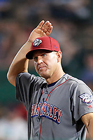 Lehigh Valley IronPigs bench coach Wes Helms (18) in the dugout during a game against the Rochester Red Wings on June 29, 2018 at Frontier Field in Rochester, New York.  Lehigh Valley defeated Rochester 2-1.  (Mike Janes/Four Seam Images)