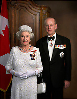 The Queen Elizabeth and her husband official portraits during her 2017 visit in Ottawa Canada