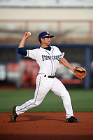 Charlotte Stone Crabs second baseman Brandon Lowe (5) throws to first base during a game against the Palm Beach Cardinals on April 11, 2017 at Charlotte Sports Park in Port Charlotte, Florida.  Palm Beach defeated Charlotte 12-6.  (Mike Janes/Four Seam Images)