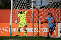 Sky Blue FC goalkeeper Jenni Branam (23) sets up the defense. The Western New York Flash defeated Sky Blue FC 4-1 during a Women's Professional Soccer (WPS) match at Yurcak Field in Piscataway, NJ, on July 30, 2011.