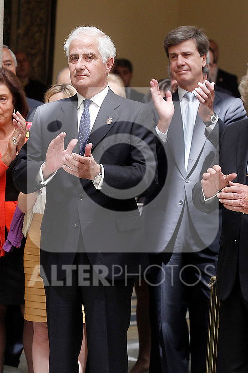 Juan Carlos Fitz-James Stuart and Martinez de Irujo, Duke of Alba in presence of his brother Cayetano Luis Martinez de Irujo and Fitz-James Stuart, Duke of Arjona and Conde de Salvatierra during the commemoration of the bicentennial of the Delegation of the Greatness of Spain. June 16,2015. (ALTERPHOTOS/Acero)