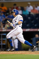 Taylor Motter (11) of the Durham Bulls breaks his bat during the game against the Indianapolis Indians at Durham Bulls Athletic Park on August 4, 2015 in Durham, North Carolina.  The Indians defeated the Bulls 5-1.  (Brian Westerholt/Four Seam Images)