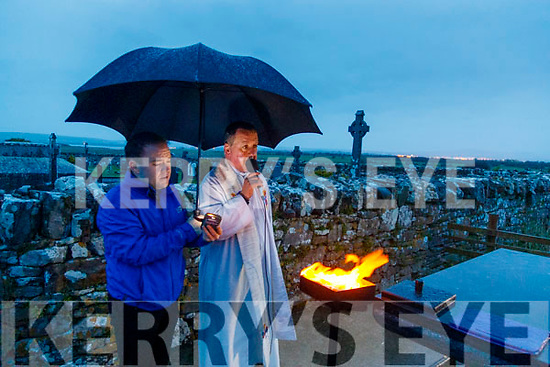 Fr Francis Nolan and Fr Sean Jones saying dawn mass in Annagh Graveyard on Easter Sunday morning which was recorded and streamed later.
