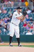 Charlotte Knights starting pitcher Felipe Paulino (39) looks to his catcher for the sign against the Lehigh Valley IronPigs at BB&T Ballpark on May 8, 2014 in Charlotte, North Carolina.  The IronPigs defeated the Knights 8-6.  (Brian Westerholt/Four Seam Images)