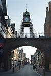 Chester Cheshire UK Foregate Street looking through the arch over the road into Eastgate Street.