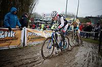 Mathieu Vanderpoel (NLD/BKCP-Powerplus) leads the race just ahead of Tom Meeusen (BEL/Telenet-Fidea)<br /> <br /> Druivencross Overijse 2014