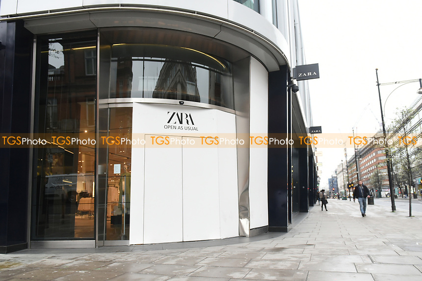 A view of the Zara Store on Oxford Street. The deserted streets show the severe effects of the COVID-19 epidemic on London on the morning of 19th March 2020