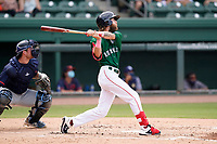 Right fielder Cole Brannen (5) of the Greenville Drive during a game against the Bowling Green Hot Rods on Sunday, May 9, 2021, at Fluor Field at the West End in Greenville, South Carolina. The catcher is Erik Ostberg (21). (Tom Priddy/Four Seam Images)