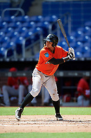 Miami Marlins Chris Torres (48) at bat during a Florida Instructional League game against the Washington Nationals on September 26, 2018 at the Marlins Park in Miami, Florida.  (Mike Janes/Four Seam Images)