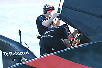 13th March 2021; Waitemata Harbour, Auckland, New Zealand;  Emirates Team New Zealand after winning Race 6, Day 3 of the America's Cup presented by Prada. Auckland, New Zealand, Saturday the 13th of March 2021.