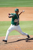 Greensboro Grasshoppers relief pitcher Miguel Del Pozo (26) in action against the Kannapolis Intimidators at CMC-NorthEast Stadium on September 1, 2014 in Kannapolis, North Carolina.  The Grasshoppers defeated the Intimidators 7-4.  (Brian Westerholt/Four Seam Images)