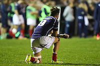 Matt Heeks of London Scottish looks dejected after the Greene King IPA Championship match between London Scottish Football Club and Nottingham Rugby at Richmond Athletic Ground, Richmond, United Kingdom on 16 October 2015. Photo by David Horn.