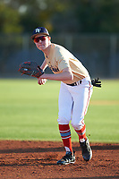 Ethan Riggs (43), from Mesquite, Texas, while playing for the Brewers during the Under Armour Baseball Factory Recruiting Classic at Gene Autry Park on December 27, 2017 in Mesa, Arizona. (Zachary Lucy/Four Seam Images)
